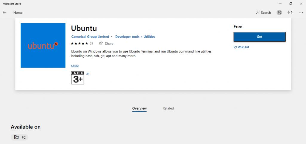 ubuntu linux on microsoft store