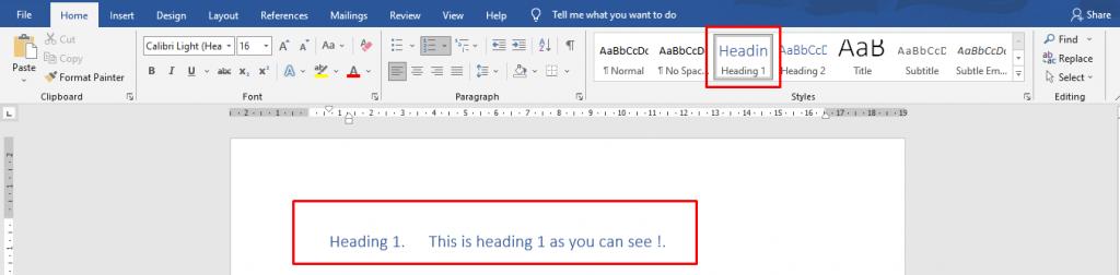 Abbildung E. Überschrift 1 auf einen Überschriftentext anwenden.
