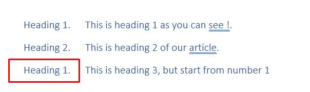Abbildung H. Word startet die Nummerierung neu.