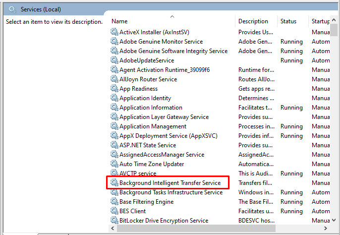 Suche nach dem Background Intelligent Transfer Service