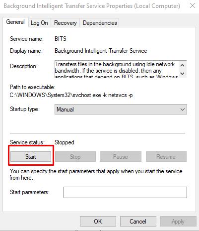 Wenn es nicht funktioniert, dann klicken Sie auf die Schaltfläche Start.
